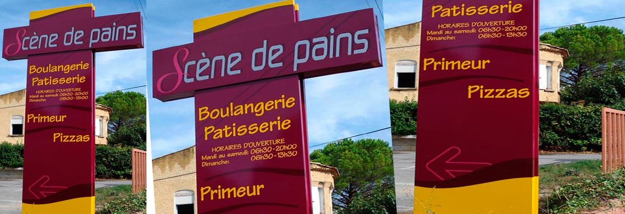 Fabrication de totems publicitaires bouches du rh ne fixes ou rotatifs et de mobilier - Boulangerie marie salon de provence ...